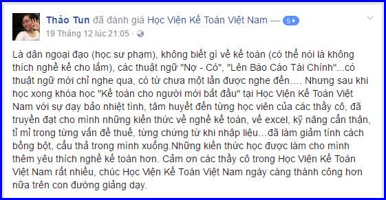 Cảm nhận học viên Thảo Tun - Phú Thọ